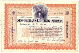 Orleans Lighting Company Stock Certificate Jersey photo