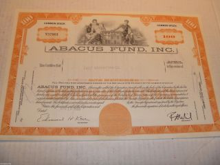 1969 Abacus Fund Inc.  Delaware (100 Shares) Stock Cancelled Certificate photo