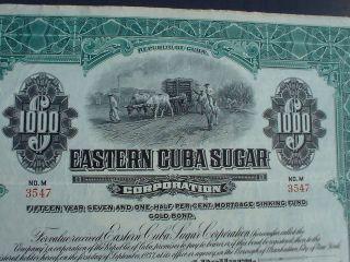 Eastern C Uba Sugar 1000$ 7 - 1/2% Gold Bond 1922 Uncancelled W.  Coupons photo