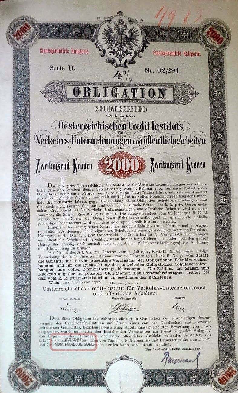 Austria 1902 Oesterreichischen Credit Instituts 2000 Bond Loan World photo