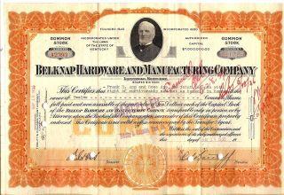 12 Sh 1935 Old Canceled Stock Certificate Belknap Hardware & Mfg Co Frank H App photo