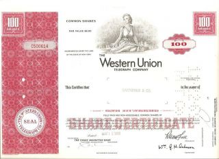 Western Union Stock Certificate,  100 Shares,  From 1969 photo