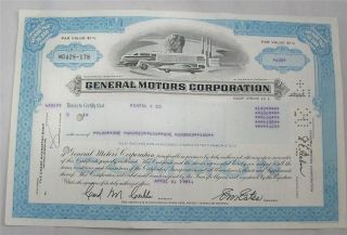 Vintage Cancelled Stock Certificate General Motors Corp.  1981 photo