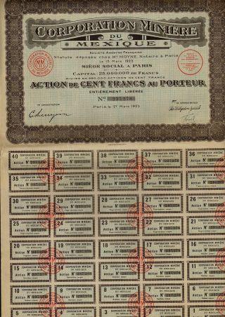 Mining Mexico Corporation Miniere Du Mexique 1923 Uncancelled Div.  Coupons 1 - 40 photo