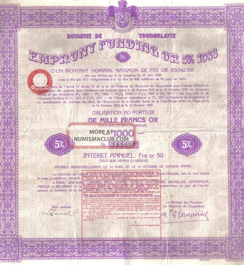 Kingdom Yugoslavia Bond 5% 1933 Gold Loan 1000 Fr Uncancelled Coupon World photo
