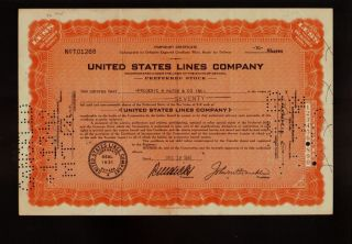 United States Lines Company Dd 1941 Rare Scrip Cert.  Issued To Frederic Hatch photo