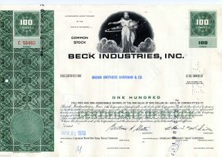 1970 Beck Industries Inc.  (100 Shares) Stock Cancelled Cert. photo