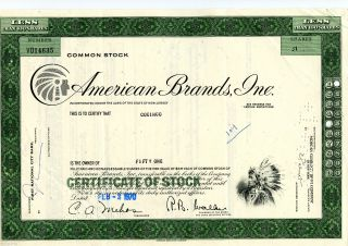 1970 American Brands Inc.  (51 Shares) Stock Cancelled Cert. photo