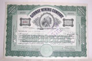 Ojibway Mining Company Stock Certificate 10 Share Michigan Abnc 1929 photo