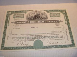 1971 Atlantic Richfield Company (100 Shares) Stock Cancelled Certificate photo