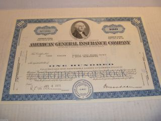 1971 American General Insurance Company (100 Shares) Stock Cancelled Certificate photo