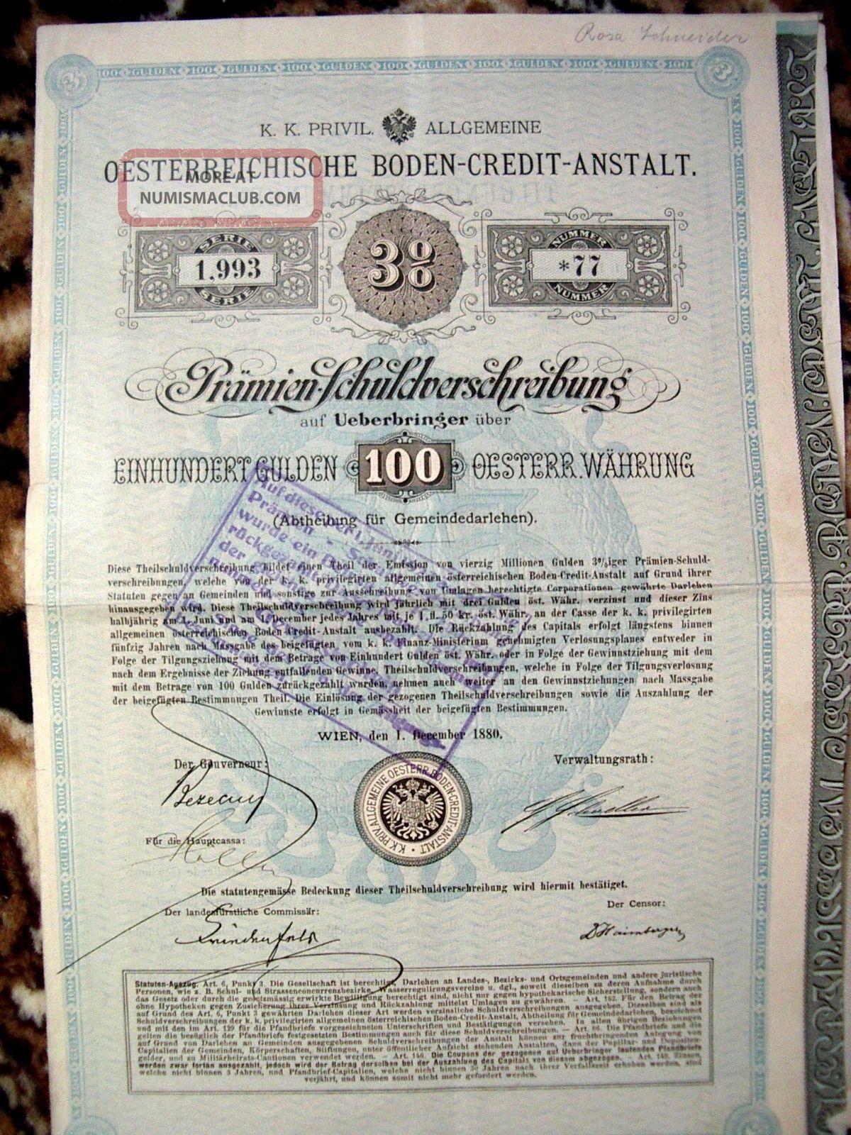 Austria 1880 Wien 100 Gulden Osterreich Boden Credit Anstalt Unc State Bond Loan World photo