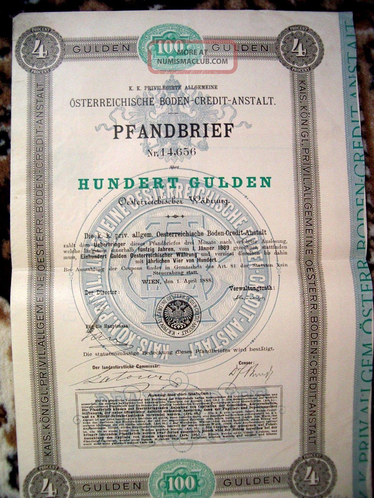 Austria 1888 Wien 100 Gulden Osterreich Boden Credit Anstalt Unc State Bond Loan World photo