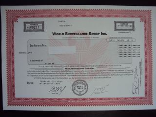World Surveillance Group Stock Certificate photo