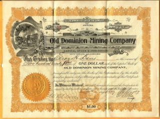C1907 Arizona Az Stock Old Dominion Mining Company photo
