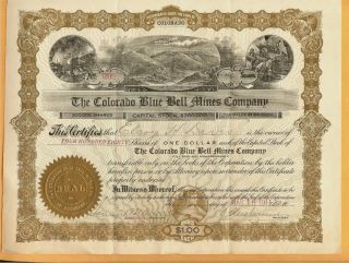C1910 Co Stock Certificate The Colorado Blue Bell Mines Company photo