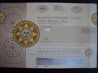 Martha Stewart Living Omnimedia Stock Certificate photo