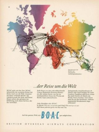 1962 Boac Airlines Map Of Conections Advertising Ad photo