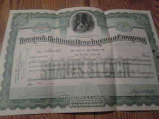 Tonopali Belmont Development Company Capitol Stock Certificate 35 Shares 1918 photo