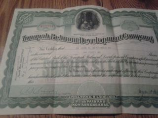 Tonopali Belmont Development Company Capitol Stock Certificate 40 Shares 1918 photo