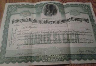Tonopali Belmont Development Company Capitol Stock Certificate 20shares 1920 photo
