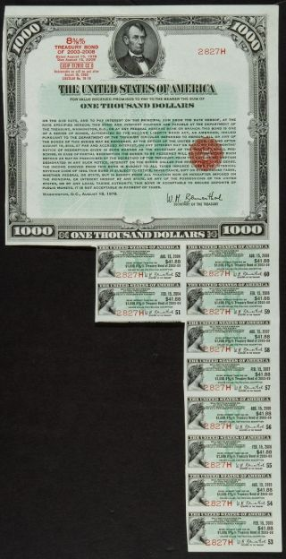 $1000 1978 Us Treasury Bearer Bond Lincoln Portrait Au+ photo