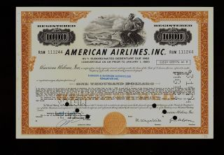 Aa : American Airlines Usd 1,  000 Old Bond Certificate Iss To Thomson Mckinnon photo