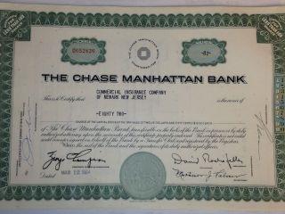 1960 ' S Chase Manhattan Stock Certificate W/ David Rockefeller President photo