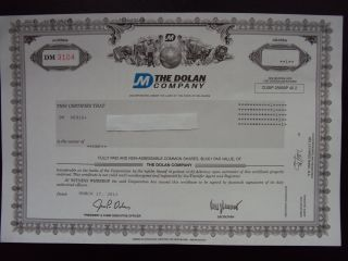 The Dolan Company Stock Certificate photo