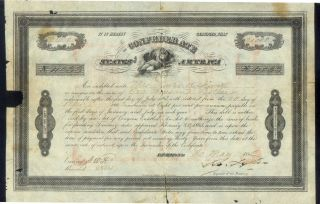 Confederate States Of America $1000 Hand Denominated Stock 1863 Science 4033 photo