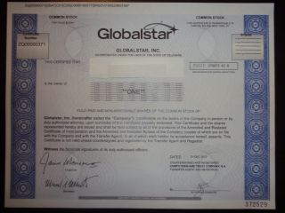 Globalstar Inc.  Stock Certificate photo