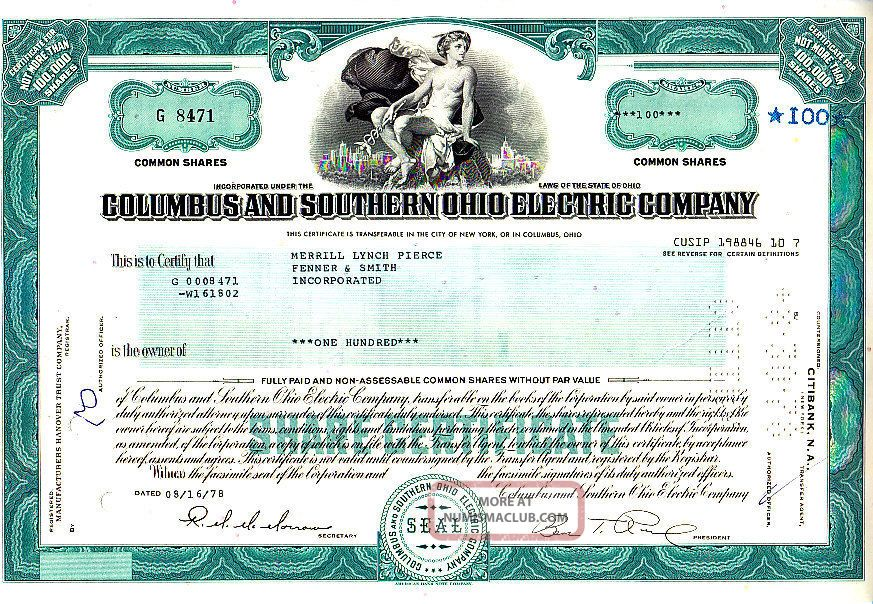 southern columbus ohio electric certificate 1978 oh cap