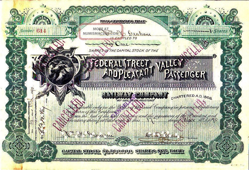 Federal Street And Pleasant Valley Passenger Railway 1890 Stock Certificate Stocks & Bonds, Scripophily photo