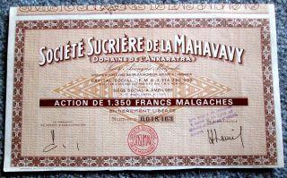 Madagascar Sugar Stock Certificate Societe Sucriere De La Mahavavy T3u photo