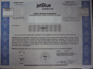 Jetblue Airways Stock Certificate photo