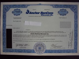 Anchor Bancorp Wisconsin Stock Certificate photo