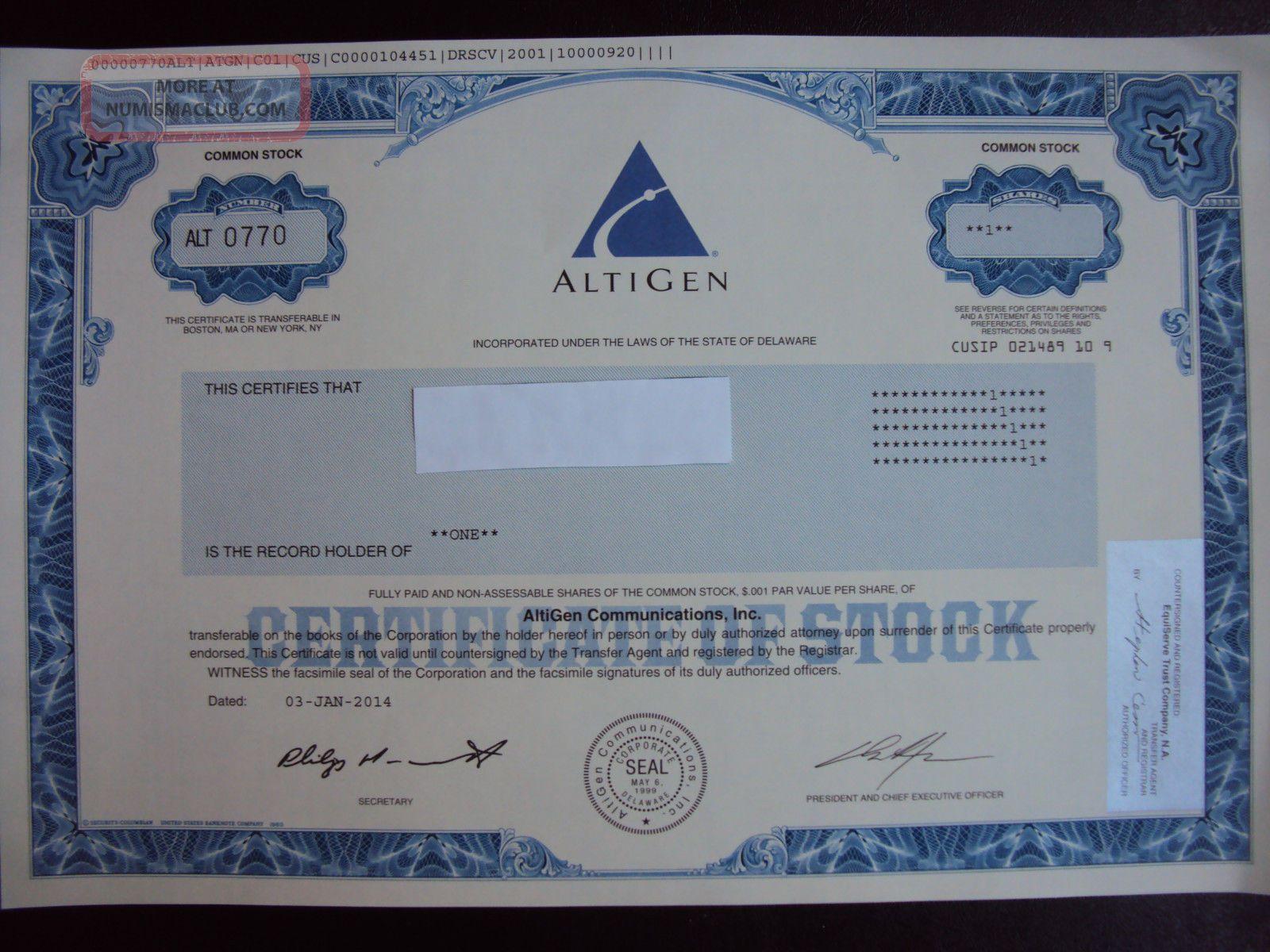 Altigen Communications Stock Certificate Stocks & Bonds, Scripophily photo
