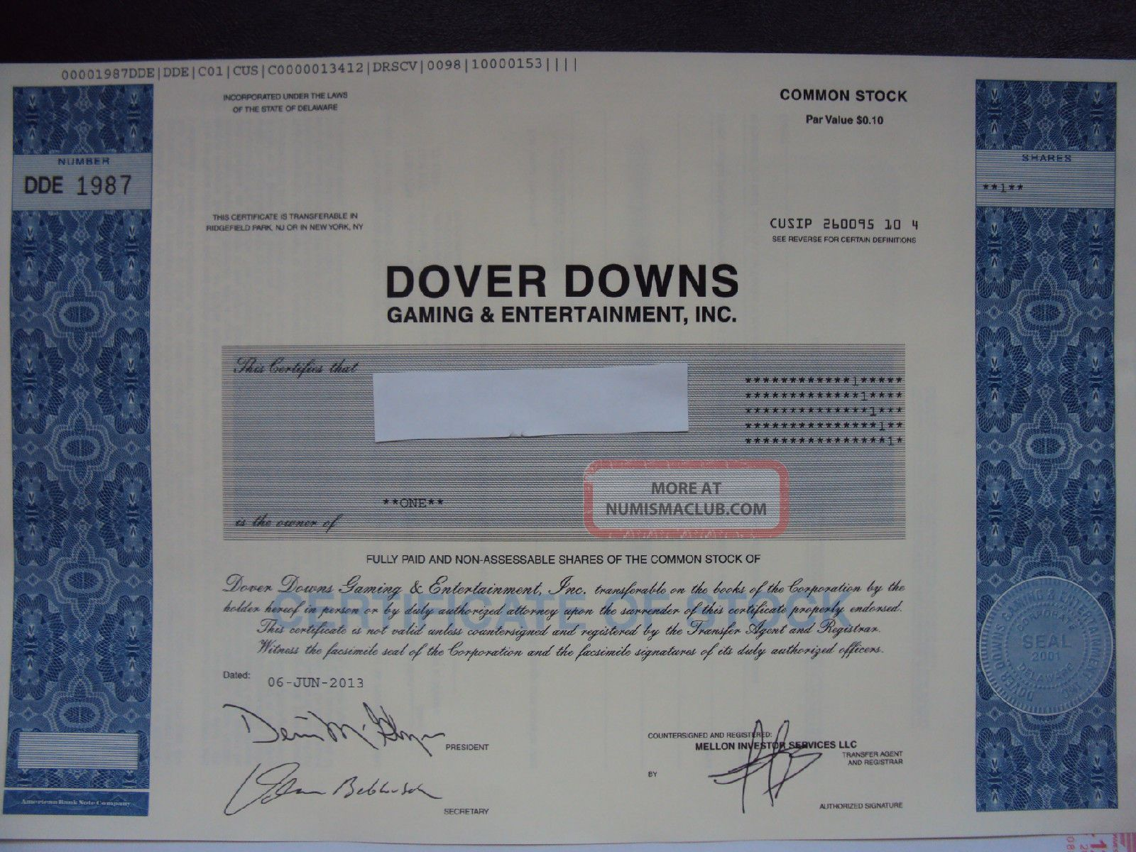 Dover Downs Gaming & Entertainment Stock Certificate Stocks & Bonds, Scripophily photo