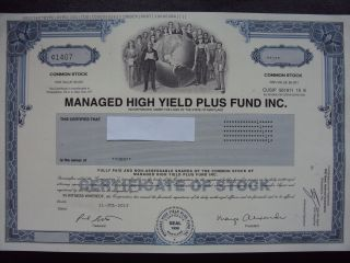 Managed High Yield Plus Fund Stock Certificate photo