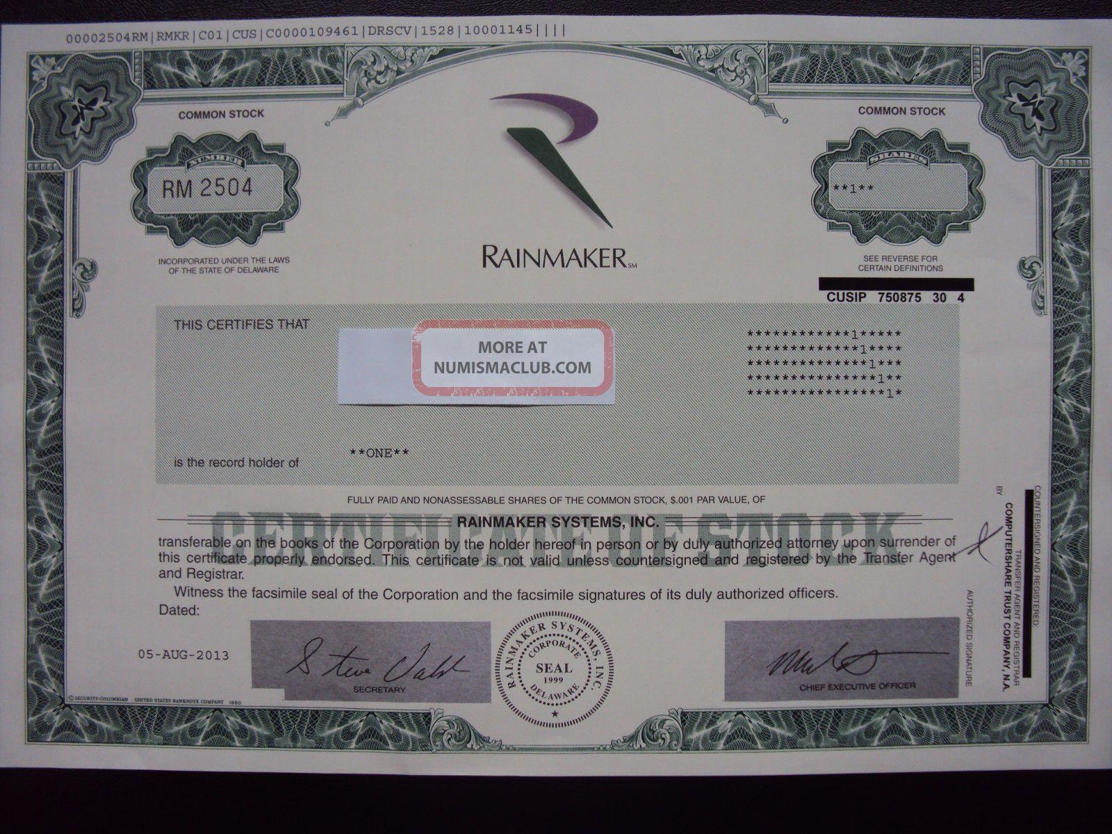 Rainmaker Systems Stock Certificate Stocks & Bonds, Scripophily photo