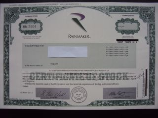 Rainmaker Systems Stock Certificate photo