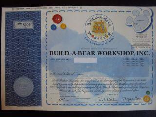 Build - A - Bear Workshop Stock Certificate photo