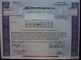 Mines Management Stock Certificate photo