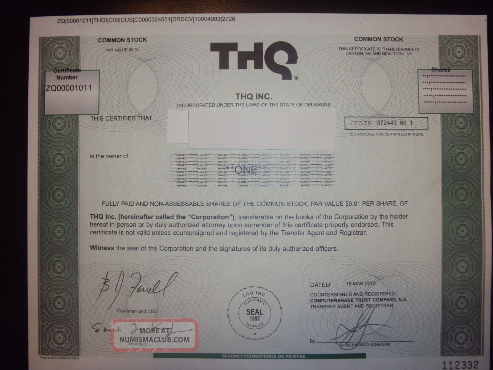 Thq Stock Certificate Stocks & Bonds, Scripophily photo
