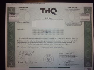 Thq Stock Certificate photo