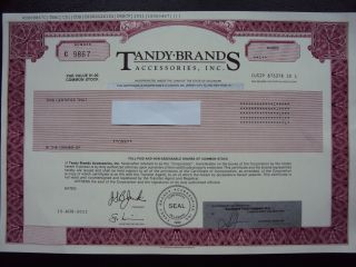Tandy Brands Accessories Stock Certificate photo