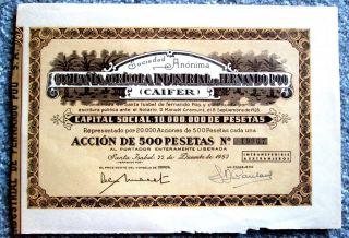 Industrial Farm Company Of Fernando Poo Africa Stock Certificate 1953 T3u photo
