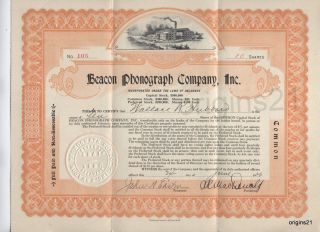 1920 Beacon Phonograph Company Inc Stock Certificate Gramophone Music Boston Ma photo