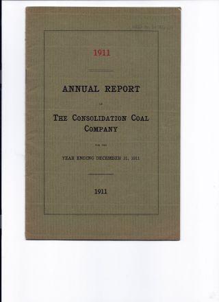 1911 Consolidation Coal Company Annual Report photo