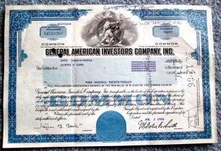 General American Investors Co.  Stock Certificate Ohio 1981 T3u photo